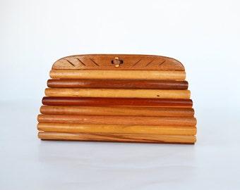 Mid Century Wooden Handbag | V. H. Woolums Wood Handbag | Retro Evening Bag | Unique Handbag | High Fashion