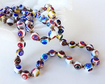 Antique Venetian Millefiori Necklace | Hand Knotted Millefiori Beads | Art Deco Jewelry | 1920s Art Glass Beads