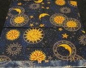 "1/2 yard Quilting Fabric Blue and Gold Celestial Zodiac - 44"" wide Cotton"