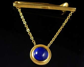 Unusual Tie clip Vintage Blue Dome Top  Pendant Chain Spoon end Birthday gift  Fathers Day Wedding groom Gold jewelry Tie bar