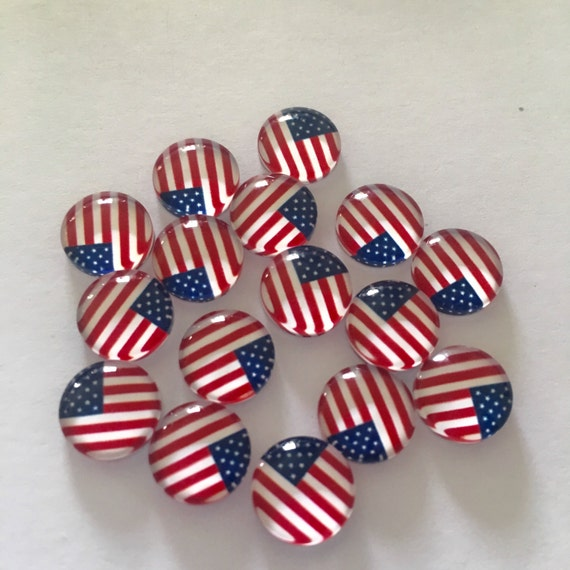 Laser Cut Supplies- 6 Pieces. 10mm American Flag glass Charms - Laser Cut Acrylic - Jewelry Supplies-Little Laser Lab.Online Laser Cutting