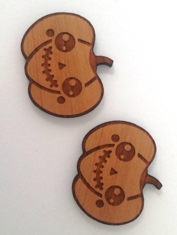 Laser Cut Supplies- 1 Piece.Kawaii Pumpkin Frankenstein Charms - Cherry Wood-Laser Cut- Little Laser Lab Sustainable Wood Products
