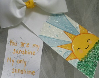 Boutique Handpainted You Are My Sunshine Hairbow