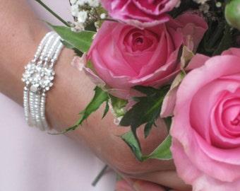 Bridal Cuff Bracelet, Bridal Jewellery, Freshwater Seed Pearl Wedding Bracelet, Pearl Bridal Jewelry,Four Strand Bridal Bracelet, Box clasp