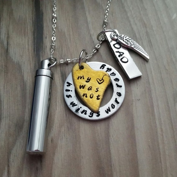 Items similar to his wings were ready my heart was not for Father daughter cremation jewelry