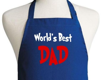 Grilling Apron For Him World's Best Dad Novelty Chef Aprons