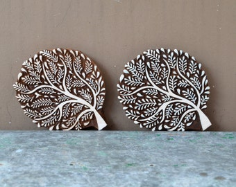 Leafy tree textile wood block stamp traditional Indian carved wooden printing block