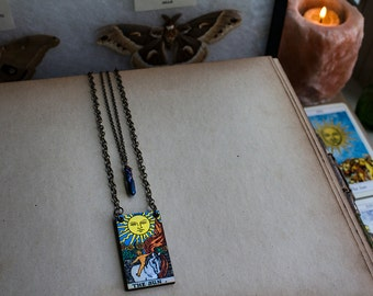 The Sun • XIX • major arcana • Layered vintage tarot card necklace - wire wrapped blue titanium aura crystal