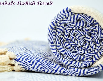 SALE 50% OFF Diamond Istanbul's Turkish BATH Towel Peshtemal - Royal- Bath, Beach, Spa, Swim, Pool Towels - Wedding Gift ,Fouta, Pestemal