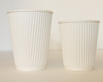 25 White Ripple Coffee Cups