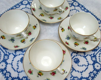 """Set of 4 EnglishTeacups and Saucers, """"Rose Pansy"""", Crown Staffordshire, Bone China"""