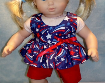 15 Inch Doll Clothes - 4th of July Fireworks Shorts Set handmade by Jane Ellen to fit 15 inch dolls