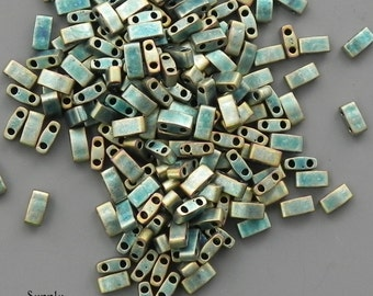 Miyuki Half Tila Two Hole Beads - 8 grams - Matte Metallic Green Iris Half Cut Tila Bead - 2113 - Color number 2008 - 1/2 Tila
