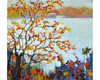 Original landscape painting, Autumn landscape painting, lake painting, Tree painting, acrylic painting, impressionist, 20 X 20 Garima Parakh