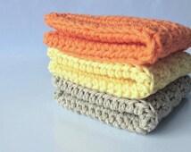Cotton crochet wash cloths - crocheted wash cloths - wash cloths - bathroom - spa cloths - kitchen dish towels - baby wash cloths - towels