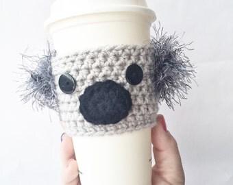 Crochet Koala Coffee Cozy, Crochet Coffee Cozy, Coffee Cozy, Coffee Sleeve, Koala Coffee Sleeve, Mug Cozy, Coffee Cup Cozy, Gray Koala Cozy