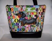 Silly Black and Tan Smooth Hair Dachshund Tote Bag
