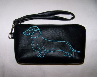Elegant Black Clutch/Wristlet with Blue Embroidered Dachshund