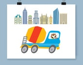 Kid's Cement Mixer Construction Vehicle In 'Happy Busy World' Nursery Playroom Bedroom Wall Decor Art Print For Baby And Young Child Gift