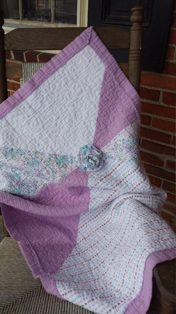 Double Gauze Baby Quilt Lavender Baby Quilt Baby Blanket