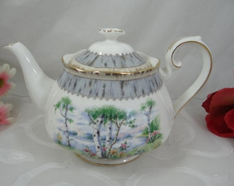 "Vintage Royal Albert English Bone China ""Silver Birch Teapot Delightful English Teapot"