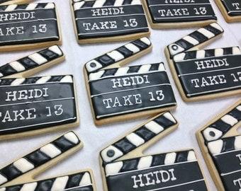MOVIE Director Clap board PERSONALIZED Cookies favors  1 Dozen (12)