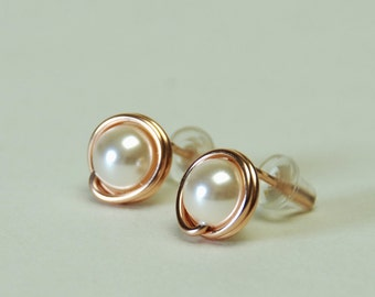 Pearl Stud Earrings, Rose Gold Filled - Handmade Wire Wrapped Cream Rose Swarovski Crystal Pearl Earrings