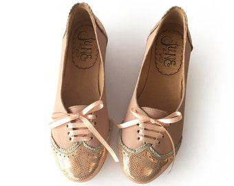 Acordonados Copper - Oxford shoes - Woman flat shoes in leather - Handmade - Free shipping.