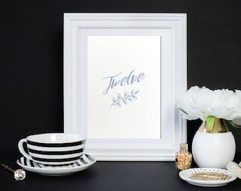 "Wedding Table Numbers   Digital Download   Table Numbers 1-20   Printable Wedding Table Numbers   5x7"" Table Number Cards   LAUREL Botanical"