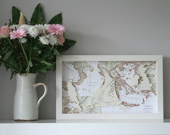 3D Handmade Paper Sculpture Personalised Gift Sailing Boat & Antique map