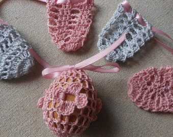 Crochet Easter Egg Cover, Set of 5 Hand Crocheted Easter Eggs Easter Decoration Pink Grey
