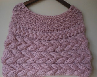 Cable Knitted Shawl Capelet Wedding Shrug Poncho Neck Warmer  Pink Choose Color
