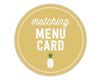 Matching Menu - Add On - To Match Any Invitation in My Shop