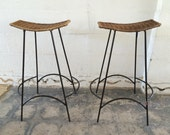 Pair Of Two Woven Stools