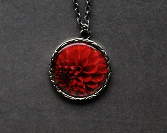 Dahlia Flower Pendant Necklace Photo jewelry