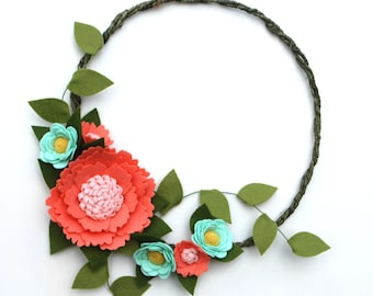 Felt Wildflower Wreath - Coral and Aqua Spring Wreath - Summer Wreath with Felt Flowers