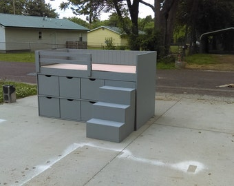 Storage kids bed, twin bed with drawers