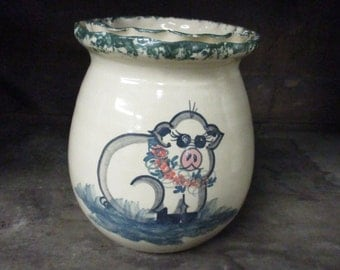 Paul Storie Pottery Marshall Texas Crock Jar with Pig Signed