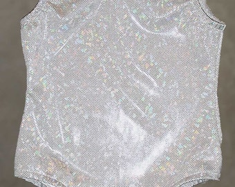 Gymnastics Leotards | Dance Costumes - Frozen Ice White and Silver Hologram leotard Toddler and Girl's sizes 2t,3t,4,5,6,7,8,10,12