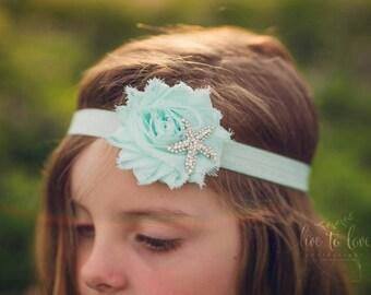 Cool mint green shabby chic starfish flower girl headband frayed chiffon rosette rhinestone starfish embellishment