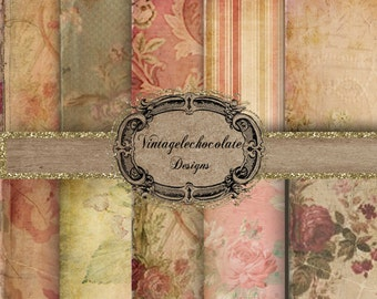 Victorian Pink Rose Digital Paper, Scrapbook Paper Digital, Antique Digital Paper, Decoupage Paper. No. p.40