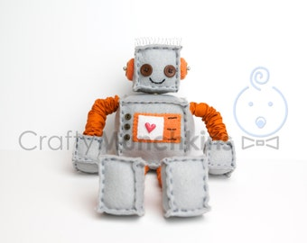 Grey Plush Felt Robot with Orange Accents