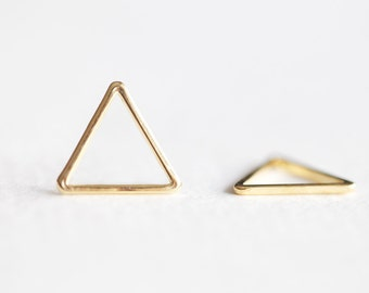 Vermeil Gold Organic Open Triangle Connector Charm - 14mm 2pcs, 18k gold over 925 silver, triangle frame, isosceles equilateral geometrical
