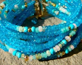 Neon Apatite, Opal Jewelry, Apatite Bracelet, Gemstone Bracelet, Peruvian Opal Cuff, Ethiopian Opal, Opal Gemstone, Multistrand Gem Bracelet