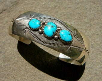 Native American Silver Turquoise, Navajo Bracelet Vintage, Navajo Silver Cuff, Turquoise Bracelet, Turquoise Jewelry, Turquoise and Silver