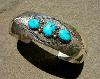 SAVE 40 Dollars: Native American Silver Turquoise, Navajo Bracelet Vintage, Navajo Silver Cuff, Turquoise Bracelet, Turquoise Jewelry