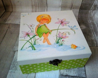 Thumbelina, Little Fairy, Decoupage Keepsake Box, Memory Box, Green