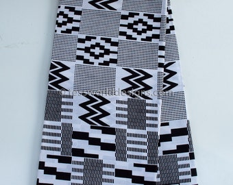 Black and White kente Print Traditional African Wedding fabric sold per yard/ African Wax Print/ Java print/ WP714B