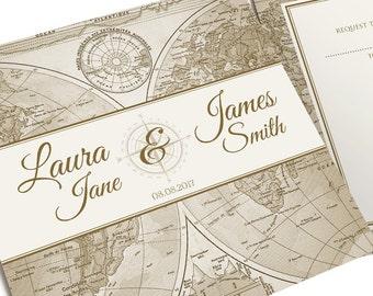 Vintage Map Wedding Invitation, Travel Invitation, Map Invitation, Adventure Wedding, Map Invite, World Map Wedding, Steampunk, SAMPLE