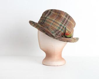 Vintage Brown Plaid Fedora Hat